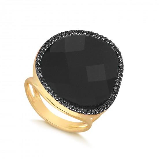 Anel em Ouro 18K com Diamantes Negros e Ônix - Verta e97bed5743