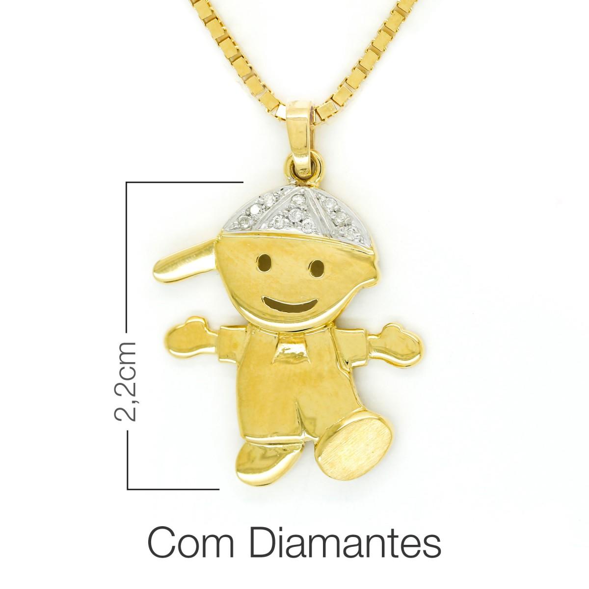 00010f4801d6d Pingente em Ouro 18K com Diamantes Menino - Verta